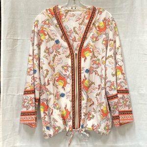 Umgee Ethnic Boho Print Front Zip Kimono Jacket